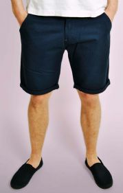 Navy Turn Up Chino Shorts